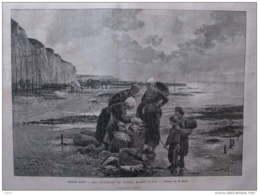 Les Pécheries De Dieppe, Marée Basse - Tableau De M. Beyle - Page Original 1882 - Documents Historiques