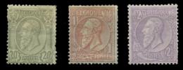 BÉLGICA. * 47, 51 Y 52. Valores Clave. Fijasellos Fuerte. Examinar. Cat. 1190 €. - 1884-1891 Leopoldo II