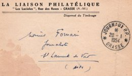 """Cachet  JOURNAUX P.P. - GRASSE Sur Bande Journaux  Entête """"LA LIAISON PHILATELIQUE"""" - Journaux"""