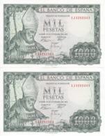 PAREJA CORRELATIVA DE 1000 PTAS DEL AÑO 1965 DE S. ISIDORO SERIE 1J CALIDAD EBC (XF) (BANKNOTE) - [ 3] 1936-1975: Franco
