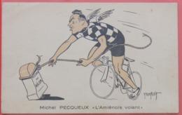 Cyclisme : Michel Pecqueux, Coureur Cycliste Originaire D'Amiens, Dessiné Par Abel Petit - Cyclisme