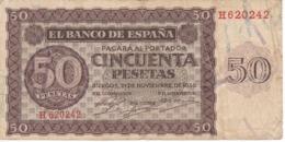 BILLETE DE BURGOS DE 50 PTAS DEL 21/11/1936 SERIE H  (BANKNOTE) - [ 3] 1936-1975: Regime Van Franco
