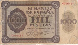 BILLETE DE ESPAÑA DE 1000 PTAS DEL AÑO 1936 DE BURGOS SERIE C  (DIFÍCIL Y RARO) - [ 3] 1936-1975: Regime Van Franco