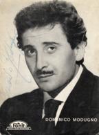 """CT-02960- CARTOLINA PUBBLICITARIA """" AUTOGRAFO DOMENICO MODUGNO """" DISCHI FONIT CETRA 1958 - Musica E Musicisti"""