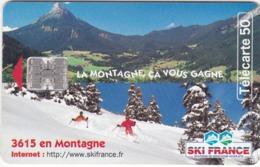 """TC129 TÉLÉCARTE 50 UNITÉS - SKI FRANCE - STATION DE MONTAGNE HIVER-ÉTÉ - """"LA MONTAGNE, CA VOUS GAGNE"""" - Sport"""