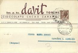 """5382 """"SOC. P. AZ. DAVIT-TORINO-CIOCCOLATO-CACAO-CARAMELLE """" CARTOLINA POSTALE ORIGINALE SPEDITA 1954 - Non Classificati"""