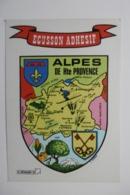 """Carte Postale Autocollante Adhésif """"ALPES HAUTE PROVENCE"""" Sticking Postcard Ecussons Blasons Villes Provinces De FRANCE - Provence-Alpes-Côte D'Azur"""