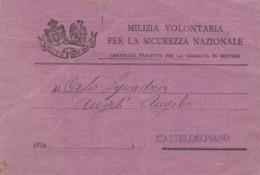 CARTOLINA PRECETTO 1927 CHIAMATA IN SERVIZIO MILIZIA VOLONTARIA SICUREZZA NAZIONALE (IX1105 - 1900-44 Victor Emmanuel III.