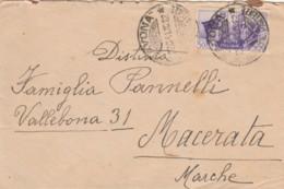 LETTERA 1942  C.50 FRATELLANZA D'ARMI -TIMBRO SAVONA MACERATA (IX1119 - 1900-44 Victor Emmanuel III