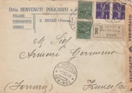 RACCOMANDATA RSI 1944 2X25 MONUM,+2X1 PA TIMBRO S.NICCOLO' (IX1070 - 4. 1944-45 Repubblica Sociale