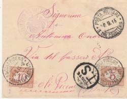 LETTERA 1915 PM I DIV.VAVALLERIA SEGNATASSE 5+10 CENT TIMBRO ASCOLI PICENO (IX1056 - 1900-44 Vittorio Emanuele III