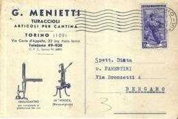 """5383 """" G. MENIETTI-TURACCIOLI - ARTICOLI PER CANTINA - TORINO"""" CARTOLINA POSTALE ORIGINALE SPEDITA 1952 - Commercio"""