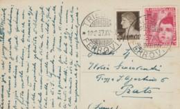 CARTOLINA 1937 10+20 C. COLONIE ESTIVE TIMBRO TRIESTE -PIAZZA SAN GIOVANNI (IX1173 - Marcophilia