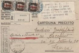 RACCOMANDATA CARTOLINA PRECETTO OCN 3X30 RSI 1944 (IX908 - 4. 1944-45 Repubblica Sociale