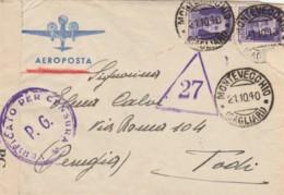 LETTERA 1950 2X50 C. TIMBRO MONTEVECCHIO CAGLIARI PERUGIA - CENSURA (IX940 - 1946-60: Marcophilia