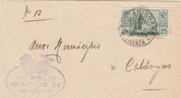 LETTERA 1931 C,25 MONTECASSINO TIMBRO COSTABISSARA VICENZA (IX1032 - Marcophilia