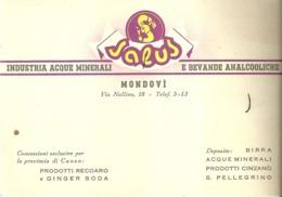 """5385 """"SALUS-INDUSTRIA ACQUE MINERALI E BEVANDE ANALCOLICHE-MONDOVI' """"  ORIGINALE - Visiting Cards"""