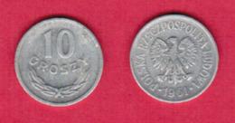 POLAND  10 GROSZY 1961 (Y # AA47) #5447 - Pologne