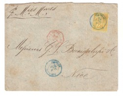 Lettre Reunion 1885 Timbre N°53 Poste Navale Paquebot Pour Nice  Brief Cover - Lettres & Documents