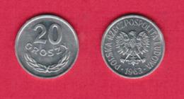 POLAND  20 GROSZY 1963 (Y # A47) #5450 - Pologne