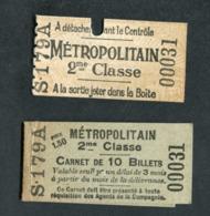 Ensemble Ticket De Métro Et Son Carnet (vide) 1906 Paris (Station Arsenal) 2e Cl - Métropolitain - RATP - Subway