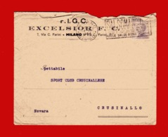 -1924 - F.I.G.C. EXCELSIOR. Da MILANO à CRUSINALLO. Targhetta SALSOMAGGIORE - Storia Postale