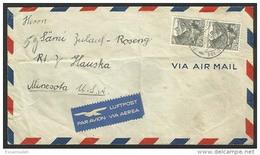 CHS14552 Switzerland 1948 Cover Franking Pair Definitive 40c Alpine Lake To USA - Switzerland