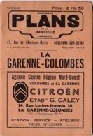 Plans De La Banlieue : La Garenne-Colombes (92) Plan Rues Renseignements Vers 1930  Publicités Commerciales - Europa