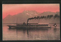 AK Binnenschiff Geneve Auf Dem Genfersee, Dent Du Midi - Schiffe