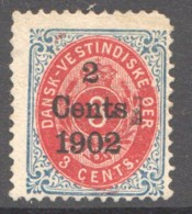 DWI  «2 Cents 1902» Surgarge On   3 Cents  Sc 27  Used - Denmark (West Indies)