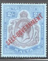 MALTA Self Government Overprint On George V 2/- SG 111  Light Hinge Mark  Cat £250 - Malta (...-1964)