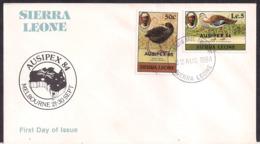 Sierra Leone - 1984 - FDC - Oiseaux - Outarde De Denham - Râle à Bec Jaune - Oiseaux