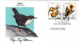 FDC HUNGARY  Birds  /  Oiseaux, HONGRIE; Lettre De Première Jour,  CINCLUS  CINCLUS - Sperlingsvögel & Singvögel