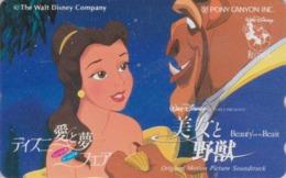 RARE Télécarte Japon / 110-011 - DISNEY - FILM BEAUTY & THE BEAST ** PONY CANYON ** - Movie Japan Phonecard - Disney