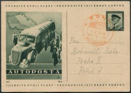 "BUS Mobile Post Office Czechoslovakia 1938 BRNO AUTOPOSTA ""f"" Illustrated Stationery Card Autobus Automobil-Postbureau - Busses"