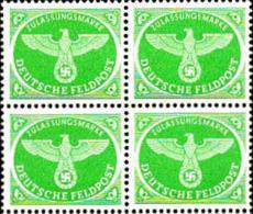 Allemagne FM N** Yv:3 Mi:3 Zulassungsmarke Aigle & Croix Gammée Bloc De 4 - Deutschland