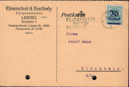 Allemagne Poste Obl Yv:261 Mi:285 Chiffre (Beau Cachet Rond) Carte Laipzig 19-9-23 - Germania