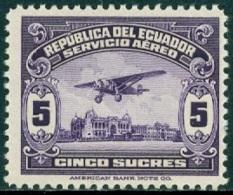 ECUADOR 1930-44 5s PURPLE PLANE OVER GUAYAQUIL** (MNH) - Ecuador