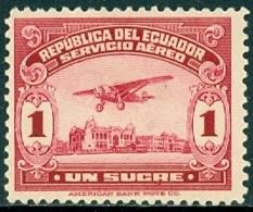 ECUADOR 1930-44 1s CARMINE PLANE OVER GUAYAQUIL* (MH) - Ecuador