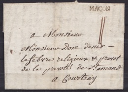 """L. Datée 18 Novembre 1771 De MACON Pour Religieux De La Prévôté De St-Amand à COURTRAY - Griffe """"MACON"""" - Port """"II"""" - 1714-1794 (Austrian Netherlands)"""