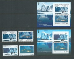 Australia 1990 USSR Joint Issue Antarctic Scientific Research Both Country Sets Of 2 & Both Miniature Sheets MNH - 1990-99 Elizabeth II
