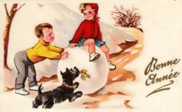 Thematiques Voeux Mini CP Bonne Année Enfants Jouant Dans La Neige Chien N° 63 Dessin Illustrateur Connu - New Year