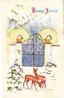 Thematiques Voeux Mini CP Bonne Année Biche Faon Paillettes - New Year