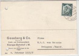 Karte Aus KIERSPE BAHNHOF 4.2.35 Nach Evingsen - Covers & Documents