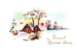 Thematiques Voeux Mini CP Bonne Et Heureuse Année Paysage Illustrateur Roger Levasseur - New Year