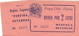 7-LOTTERIA VESPA CLUB PARMA-DITTA BEGHINI GUGLIELMO-BUONO PER 2 LITRI DI MISCELA-ANNI 50 - Motor Bikes