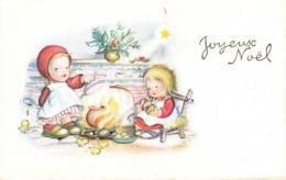 Thematiques Vœux Mini CP Joyeux Nöel Fillettes Preparant La Soupe - Other