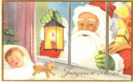 Thematiques Vœux Mini CP Joyeux Nöel Pere Nôel Derriere Les Barreaux Lanterne Enfant - Santa Claus