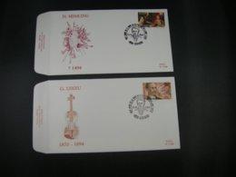 "BELG.1994 2569 & 2570 FDC's (Verviers) : "" Componist Guillaume Lekeu & Schilder Hans Memling "" - FDC"