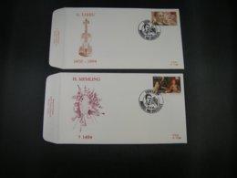 """BELG.1994 2569 & 2570 FDC's (Brus/Brux) : """" Componist Guillaume Lekeu & Schilder Hans Memling """" - FDC"""